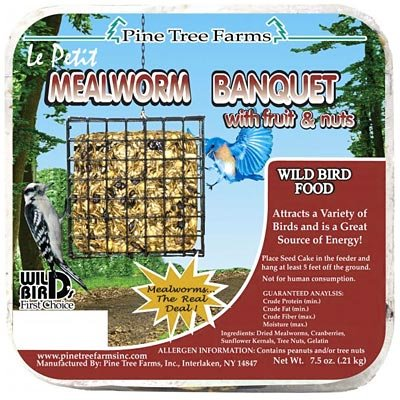 12 Pack of Pine Tree Farms Le Petit Mealworm Banquet Seed Cakes, 7.5 oz. Each