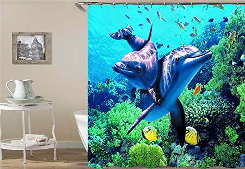 ZYJ Marine Animal Decoration. Two Dolphins are Playing. Shower Curtain. Quick Drying, Easy to Clean and Easy to Install. 70.86 Inches X 70.86 - Two White Dolphins Gold
