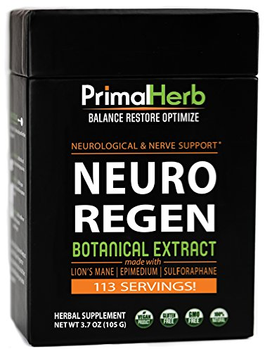 Neuro Regen Botanical Extract | by Primal Herb | Neurological & Nerve Support | Lion's Mane Mushroom, Epimedium, Sulforaphane Extract Powder – 113 Servings – Includes Spoon For Sale