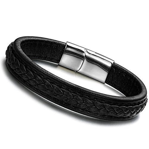 ORAZIO Leather Bracelet Braided Bangle for Men Stainless Steel Magnetic Clasp,8.5 Inches for $<!--$9.99-->