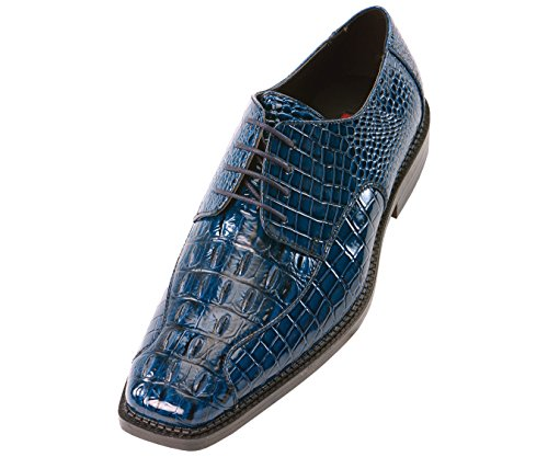 Bolano Mens Navy Blue 3D Crocodile Printed Oxford Dress Shoe : Style Darby Navy Blue-002