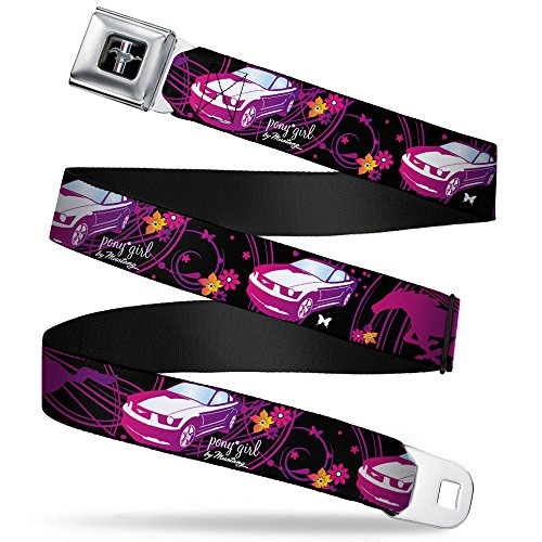 - Buckle-Down Seatbelt Belt - Mustang Silhouette/PONY GIRL/Flowers Black/Fuchsias - 1.0
