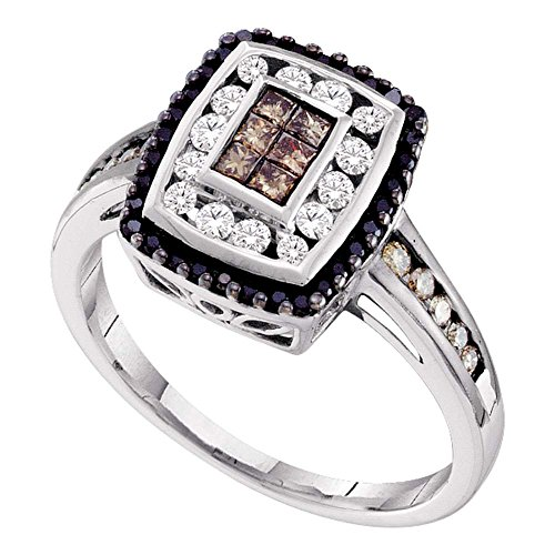 14kt White Gold Womens Princess Cognac-brown Black Color Enhanced Diamond Rectangle Cluster Ring 1/2 Cttw