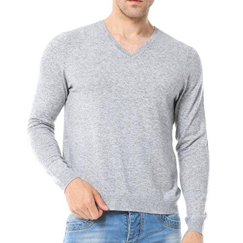 Silk Blend Sweater Dress (Just No Logo Men's Wool Blend Solid V-Neck Sweater Pullover(Light Gray,S))