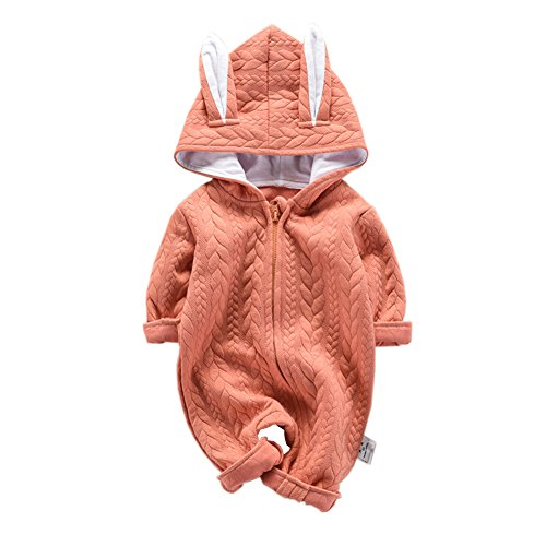 Fairy Baby Baby Boys Girls Jumpsuit Hoodie Romper Outfit Long Sleeve Bodysuit Clothes Size 3-6M (Orange)