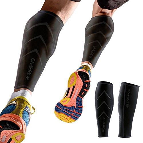 Emerge Calf Compression Sleeve for Men & Women - Leg & Shin Splint Compression Sleeves for Runners, Shin Splints & Blood Circulation
