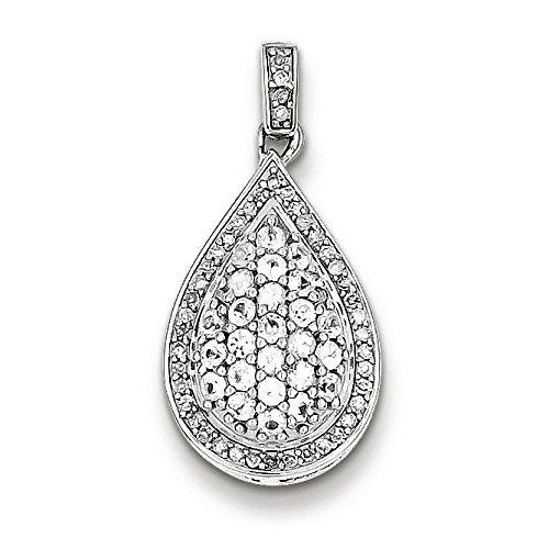Femme Argent Sterling Rhodium plaqué pendentif ovale diamant-JewelryWeb et péridot Pendentifs seuls