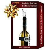 Novelty Wine Gift Set of Aerator Pourer Chiller Stick and Digital Thermometer - Unique Present Idea - Iceless Stainless Steel Single Bottle Accessory - Wine Lovers Making Enthusiasts Complete Kit