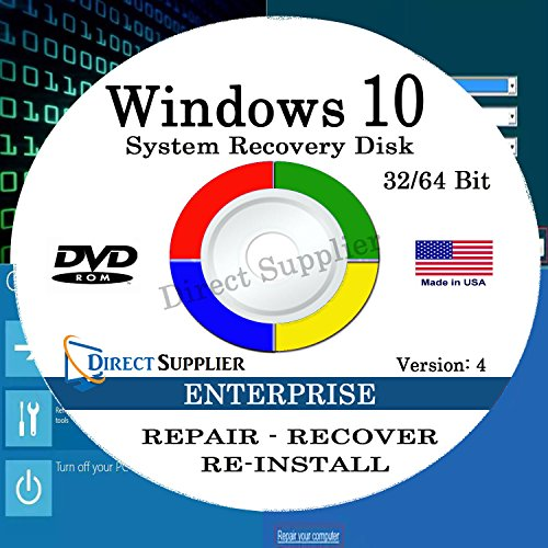 Windows 10 - 32/64 Bit DVD SP1, Supports ENTERPRISE Edition. Recover, Repair, Restore or Re-install Windows to Factory Fresh!