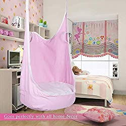 CO-Z Kids Pod Swing Child Hanging Chair Indoor Kid Hammock Seat Pod Nook (Upgraded Two Straps, Pink)