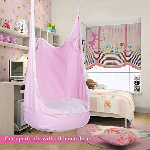 CO-Z Kids Pod Swing Seat Child Hanging Hammock Chair Indoor Outdoor Kid Hammock Seat Pod Nook (Upgraded Two Straps, Pink) (Swing Room Chair)