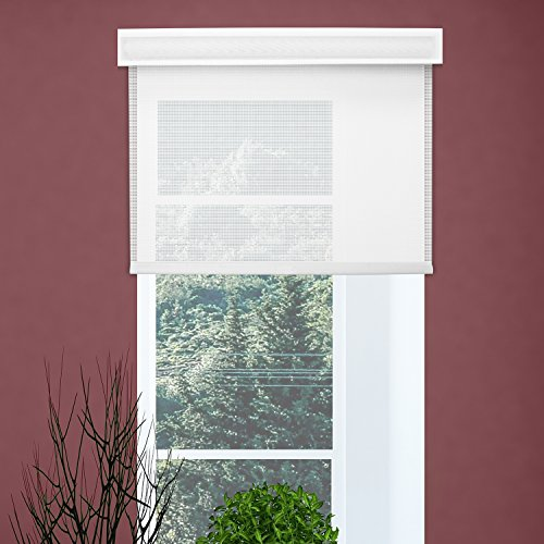 Chicology Free-Stop Cordless Roller Shades / Blind Curtain Drape, No Tug,  Solar, Block Out UV Rays - Cloud White, 39''W X 72''H