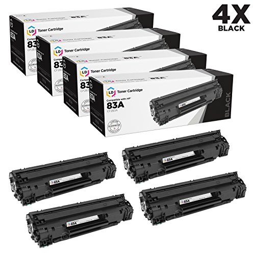 LD © Compatible Replacement Laser Toner Cartridges for Hewlett Packard CF283A (HP 83A) Black (4 Pack) for use in HP LaserJet Pro MFP M127fn, MFP M127fw, MFP M125nw & MFP M125rnw Printers