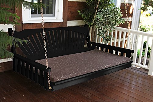 Hanging Fanback Porch Swing Bed - Gorgeous 6' Swinging Swingbed Daybed Is A Showstopper That The Entire Family Will Love - Fun Outdoor Furniture - 9 Color Choices (Swing Porch Beds)