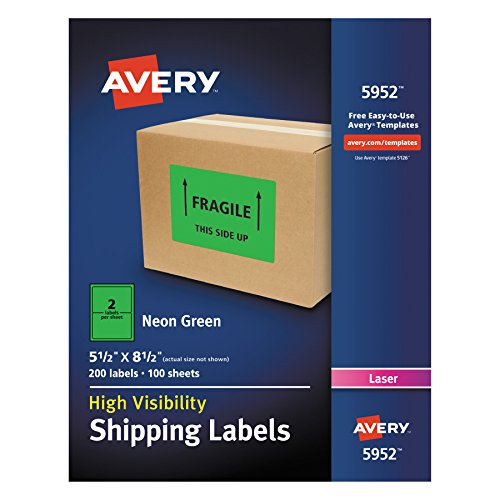Avery High-Visibility Neon Green Shipping Labels for Laser Printers 5-1/2