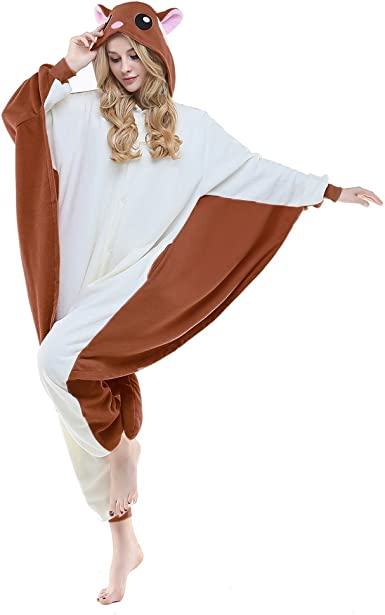 Amazon Com Newcosplay Flying Squirrel Costume Sleepsuit Adult Pajamas Clothing