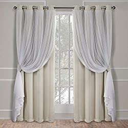 Exclusive Home Curtains Catarina Layered Solid Blackout and Sheer Window Curtain Panel Pair with Grommet Top, 52x96, Sand, 2 Piece