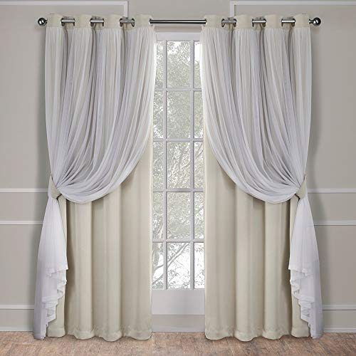 Exclusive Home Curtains Catarina Layered Solid Blackout and Sheer Window Curtain Panel Pair with Grommet Top, 52x84, Sand, 2 Piece (Window Sheers Panels)