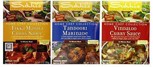 (Sukhi's Gourmet Indian Foods Gluten-Free Sauce Mix 3 Flavor Variety Bundle, (1) each: Tikka Masala, Tandoori Marinade, Vindaloo Curry (3 Ounces))