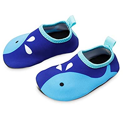 Bigib Toddler Kids Swim Water Shoes Quick Dry Non-Slip Water Skin Barefoot Sports Shoes AquaSocks for BoysGirlsToddler Blue Size: 1 Little Kid