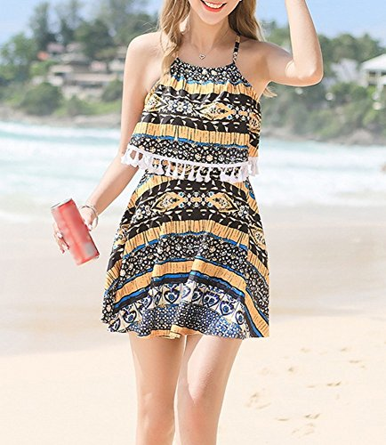 Gathered Swimsuit Spa XL Skirts Little Thin cappuccio Chest Beach giallo Summer Little con Skirt HOMEE Swimsuit 0xSTFF