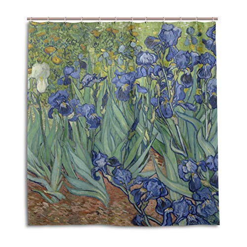 MOFEIYUE Shower Curtains Van Gogh Iris Flower Waterproof Bath Curtain Bathroom Home Decor 66 x 72 in with 12 Hooks
