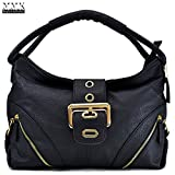 MMK collection Women Fashion Shoulder Backpack (6331)~Designer Purse Hobo bag for Women ~Multi Pocket Backpack~ Beautiful Designer Shoulder bag (02-8262-Black)