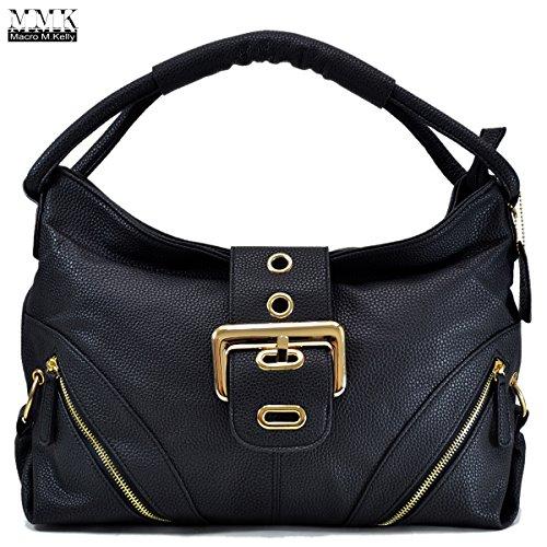 MMK collection Women Fashion Shoulder Backpack (6331)~Designer Purse Hobo bag for Women ~Multi Pocket Backpack~ Beautiful Designer Shoulder bag (02-8262-Black) by Marco M. Kelly