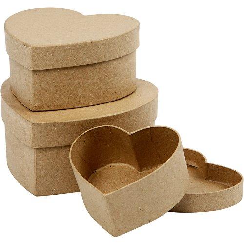 Creativ 10+12 5+15 cm 3 Assorted Papier Mache Heart Boxes 263760