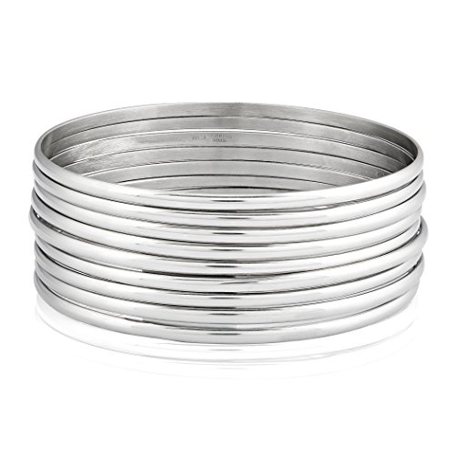 - West Coast Jewelry | ELYA Women's Stainless Steel 9-Piece Stackable Bangle Bracelets (Inner Circumference 7.5 inches)