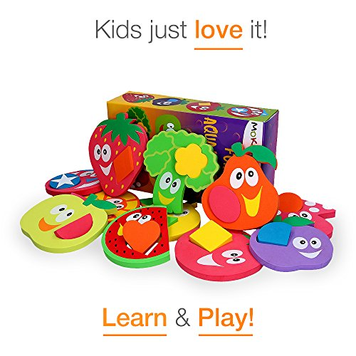 Bath Toys for Toddlers Foam Educational Baby Puzzles BathTub Birthday Christmas gifts (24 items) - Great for fine motor skill practice as well