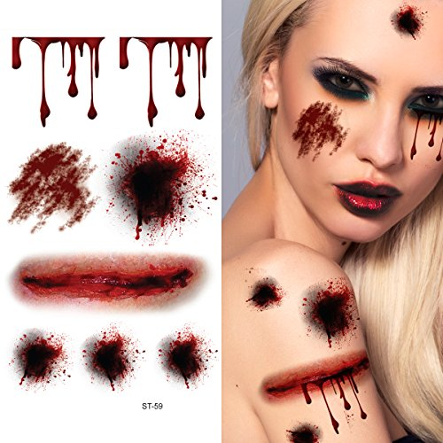 Supperb Temporary Tattoos - Bleeding Wound, Scar Halloween Halloween Tattoos