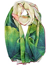 Women's 100% Silk Flower Painting Long Scarf Shawl Hand Rolled Edge