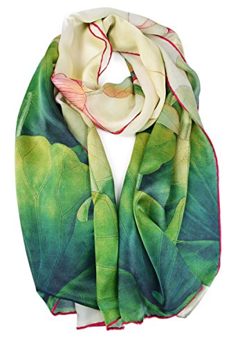 - ELEGNA Women's 100% Silk Flower Painting Long Scarf Shawl (Lotus)