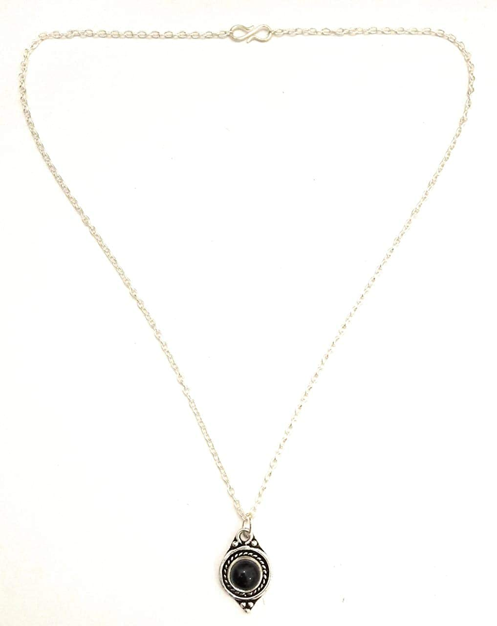 Athizay Imitation Silver Long Chain with Black Stone Pendant Formal Look for Women Stylish Chunky Chain Necklace Opera