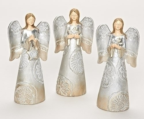 31789 Roman Distressed Carved Lace Angel Praying Decorative Holiday Table Top Figure Set of 3 7 Inches Tall Inc