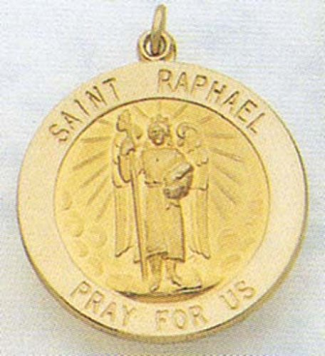 14K Gold Saint Raphael Religious Medal
