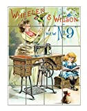 Wheeler & Wilson Sewing Machine Poster Vertical Tile Mural Satin Finish 20''Hx16''W 4 Inch Tile
