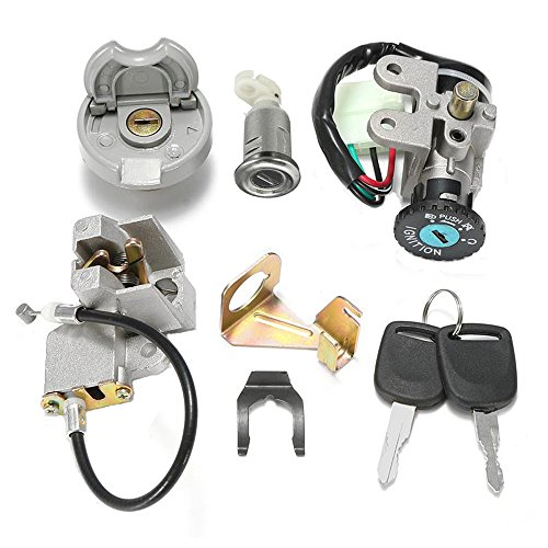 (GY6 50cc Ignition Switch Key Lock Gas Tank Cap Set for Scooter Moped TaoTao Peace Roketa Jonway NST Tank)