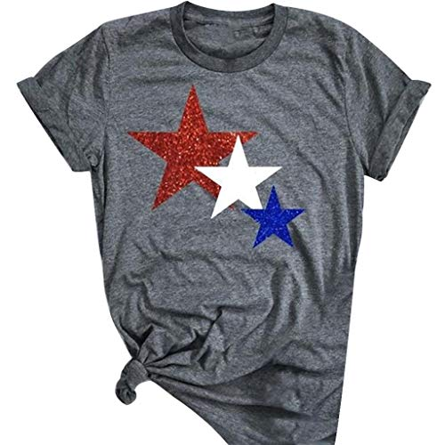 ANJUNIE Women Five Pointed Star Printing T Shirt Short Sleeve O Neck Tops Blouse(Dark Gray,XXL) -