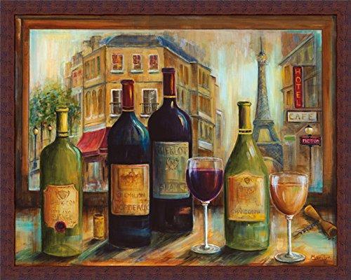 Bistro de Paris Marilyn Dunlap Red White Wine Bottle Glass Framed Print (Bistro Framed)