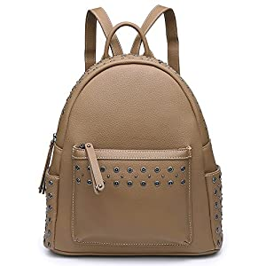 Backpack Purse For Women Fashion Stylish Casual Teens School Vegan Leather Large Ladies Shoulder Bags (Studs Khaki)
