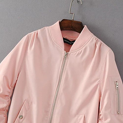 Saideng Style Vintage Punk Blouson Baseball Slim Manches Casual Longues Pink Manteau Bomber Femme rqaT6r
