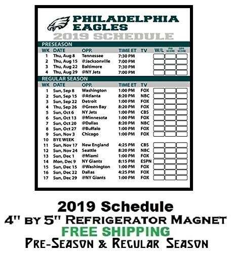 (Philadelphia Eagles NFL Football 2019 Full Season Schedule Refrigerator Magnet #325C)