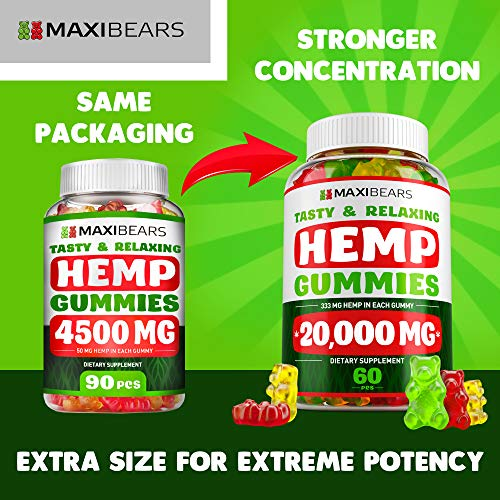 51WNNrd8ueL - Hemp Gummies - 20000 MG - 333 MG per Gummy - Pain, Stress, Insomnia & Anxiety Relief - Made in USA - Tasty & Relaxing Herbal Gummies - Premium Extract - Mood & Immune Support