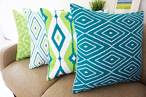 Howarmer Cotton Canvas Teal Decorative Throw