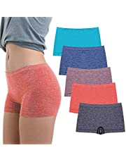 R RUXIA Women's Boyshorts Panties Seamless Underwear Stretch Light Weight Essential Boxer Brief Panty 5 Pack …