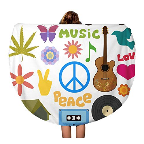 Colorful Culture of Hippie Symbols Pop Power Peace Travel 60 inches Beach Blanket ()