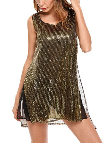 Meaneor Women Casual Shirt Sleeveless Swing Tunic Tank Top Dresses(Golden/S)