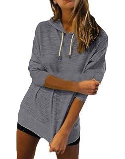 Wofupowga Womens Pullover Hoodie Casual Stripe Long Sleeve Sweatshirts